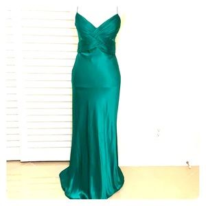 Full length emerald green cache silk gown size 2